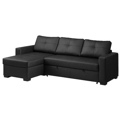RAGUNDA Corner sofa-bed with storage, Bomstad black