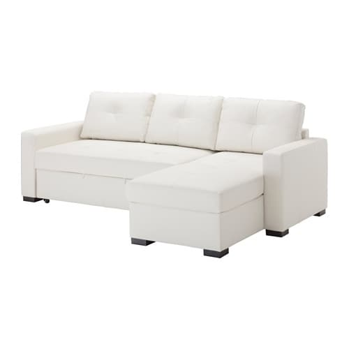 RAGUNDA Corner sofa bed with storage Kimstad off white IKEA