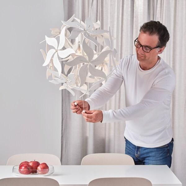 RAMSELE Pendant lamp, flower/white, 43 cm