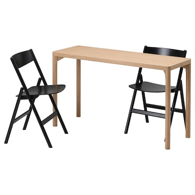 RÅVAROR / RÅVAROR Table and 2 folding chairs, oak veneer/black, 130x45 cm