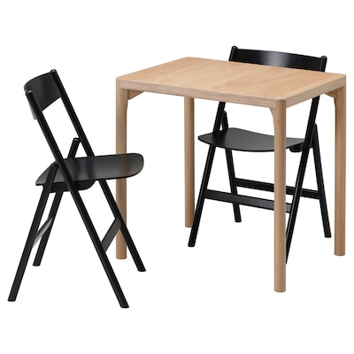 RÅVAROR / RÅVAROR Table and 2 folding chairs, oak veneer/black, 60x78 cm