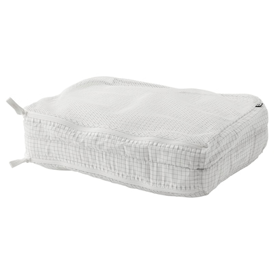 RENSARE Clothes bag with compartment, check pattern/white