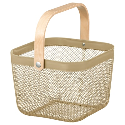 RISATORP Basket, light olive-green, 25x26x18 cm