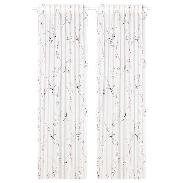 RÖDLÖNN Curtains, 1 pair, white/flower, 145x300 cm