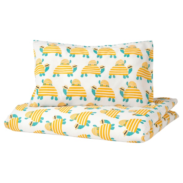 RÖRANDE Quilt cover/pillowcase for cot, turtle yellow, 110x125/35x55 cm