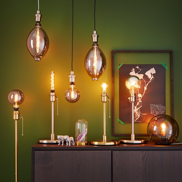 ROLLSBO LED bulb E27 200 lumen dimmable balloon-shaped/grey glass 1800 K 200 lm 180 mm 7.5 W 1 pack