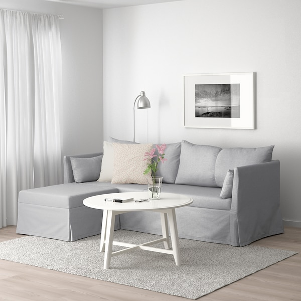SANDBACKEN Corner sofa-bed, Frillestad light grey