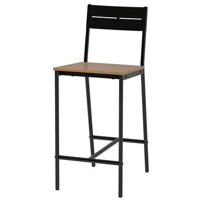 SANDSBERG Bar stool, black/brown stained, 63 cm