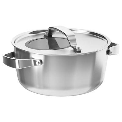 SENSUELL pot with lid stainless steel/grey 12 cm 24 cm 4 l