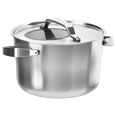 SENSUELL pot with lid stainless steel/grey 15 cm 24 cm 5.5 l