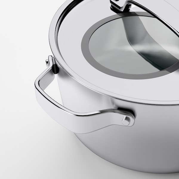 SENSUELL Pot with lid, stainless steel/grey, 4 l
