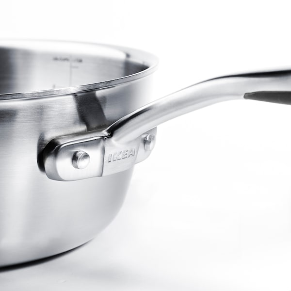 SENSUELL Saucepan with lid, stainless steel/grey, 2.4 l