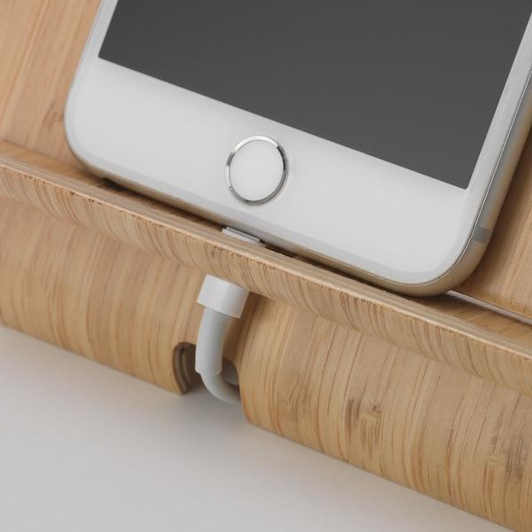 SIGFINN Holder for mobile phone, bamboo veneer