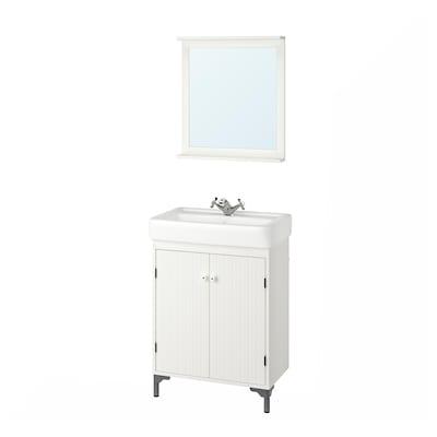 SILVERÅN / HAMNVIKEN bathroom furniture, set of 5 white/Runskär tap 63 cm
