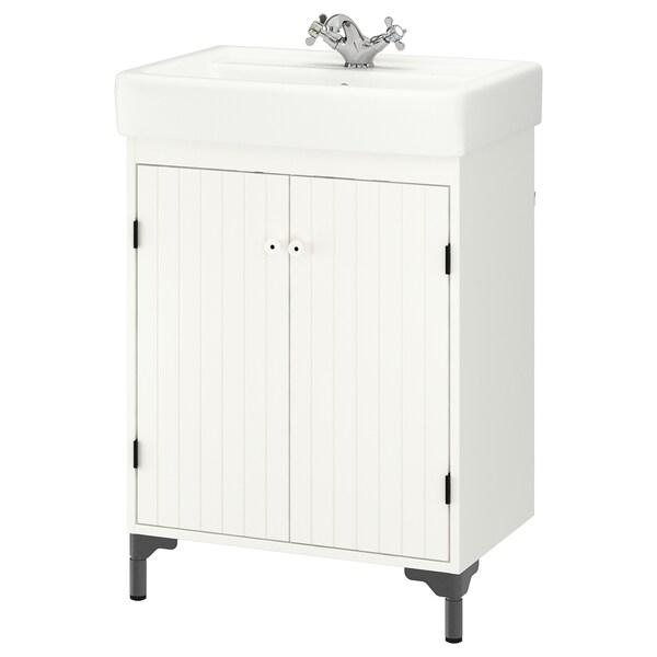 SILVERÅN / HAMNVIKEN Wash-basin cabinet with 2 doors, white/Runskär tap, 63x45x91 cm