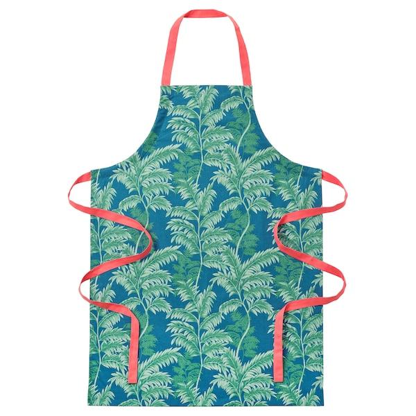 SILVERPOPPEL apron leaf green/dark turquoise 97 cm 70 cm
