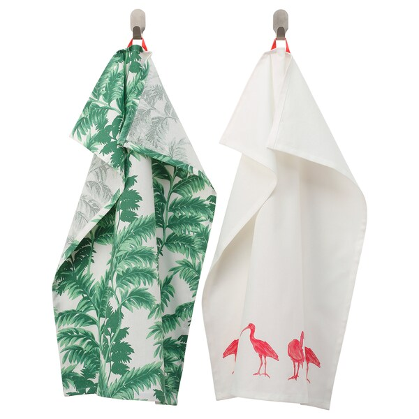 SILVERPOPPEL tea towel patterned green/white 70 cm 50 cm 2 pack