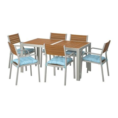 SJÄLLAND Table+6 Chairs W Armrests, Outdoor