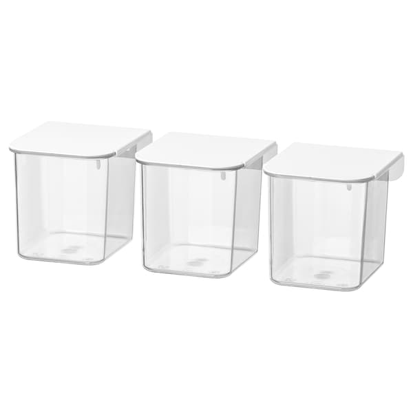 SKÅDIS container with lid white 7 cm 8.5 cm 8 cm 3 pack