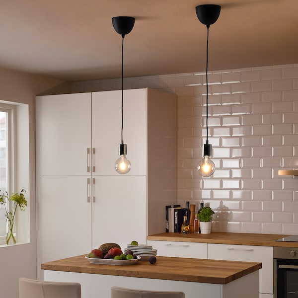 SKAFTET / LUNNOM Pendant lamp with light bulb, nickel-plated, 95 mm