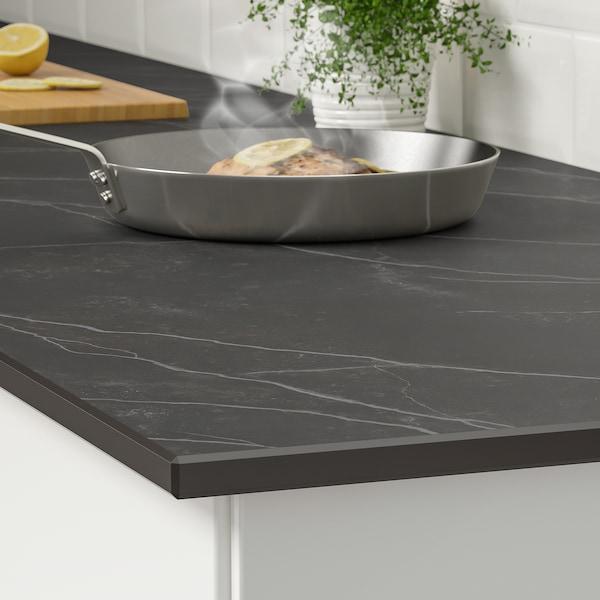 SKARARP Custom made worktop, matt black/brown/marble effect ceramic, 1 m²x2.0 cm