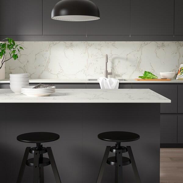 SKARARP Custom made worktop, matt white/marble effect ceramic, 1 m²x2.0 cm
