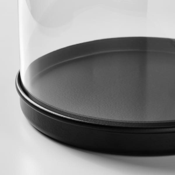 SKÖNJA Glass dome with base, clear glass/black, 16 cm