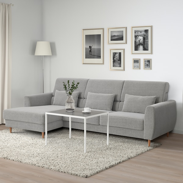 SLATORP 3-seat sofa, with chaise longue, left/Tallmyra white/black
