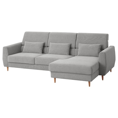 SLATORP 3-seat sofa, with chaise longue, right/Tallmyra white/black