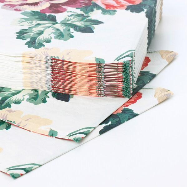 SMAKSINNE paper napkin multicolour/flower 33 cm 33 cm 30 pack