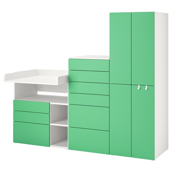 SMÅSTAD / PLATSA Storage combination, white green/with changing table, 210x79x180 cm