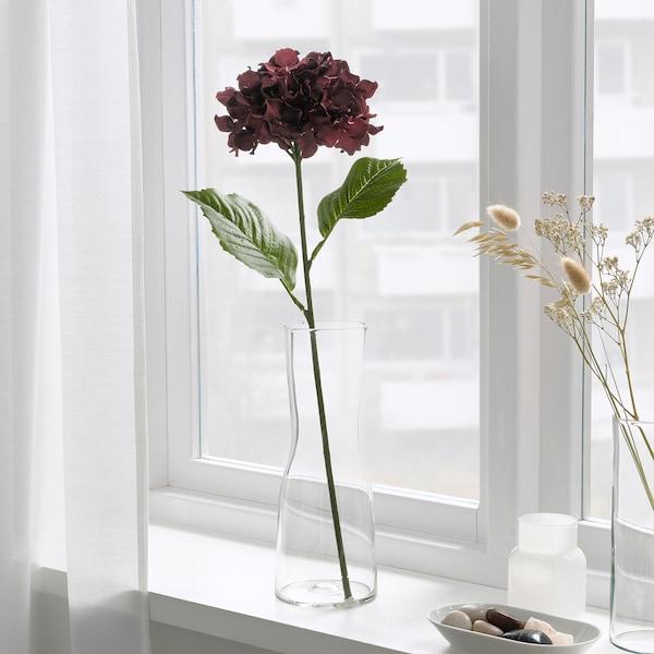 SMYCKA Artificial flower, in/outdoor/Hydrangea dark red, 60 cm