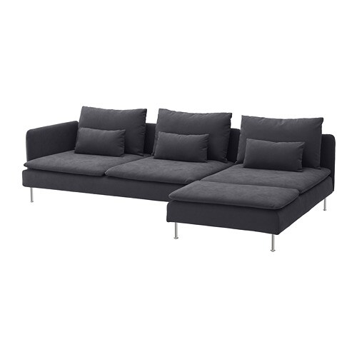 Soderhamn Ikea Hoekbank.Soderhamn 4 Seat Sofa With Chaise Longue And Open End Samsta Dark Grey