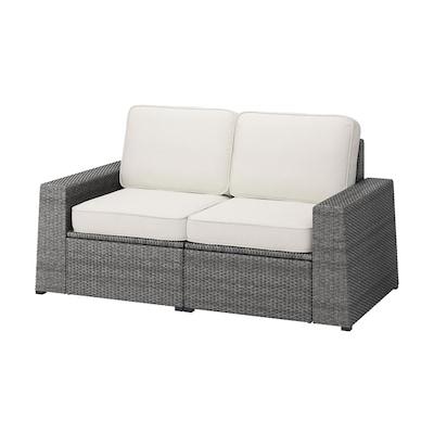 SOLLERÖN 2-seat modular sofa, outdoor, dark grey/Järpön/Duvholmen white