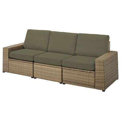 SOLLERÖN 3-seat modular sofa, outdoor, brown/Frösön/Duvholmen dark beige-green, 223x82x88 cm