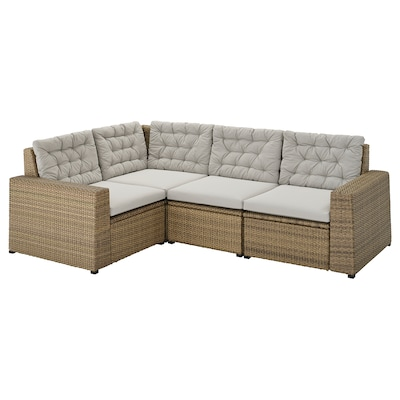 SOLLERÖN Modular corner sofa 3-seat, outdoor, brown/Kuddarna grey