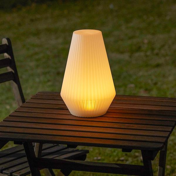 SOLVINDEN LED solar-powered floor lamp outdoor/plastic white 20 cm 30 cm