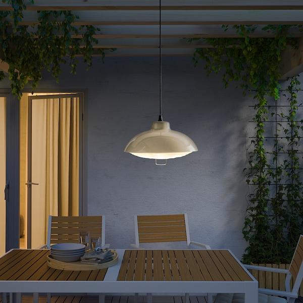 SOLVINDEN LED solar-powered pendant lamp, outdoor/beige, 38 cm