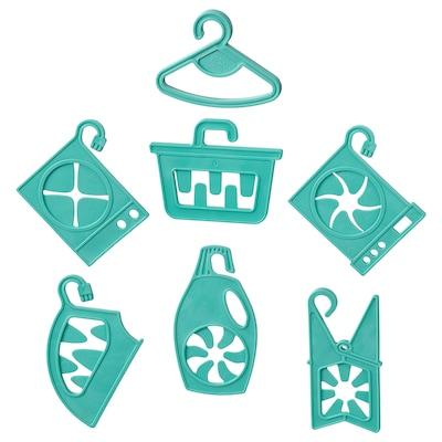 SPACKLA 7-piece sock hanger set, turquoise
