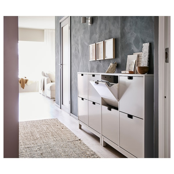 STÄLL shoe cabinet with 4 compartments white 96 cm 17 cm 90 cm