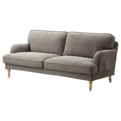 STOCKSUND 3-seat sofa, Nolhaga grey-beige/light brown/wood