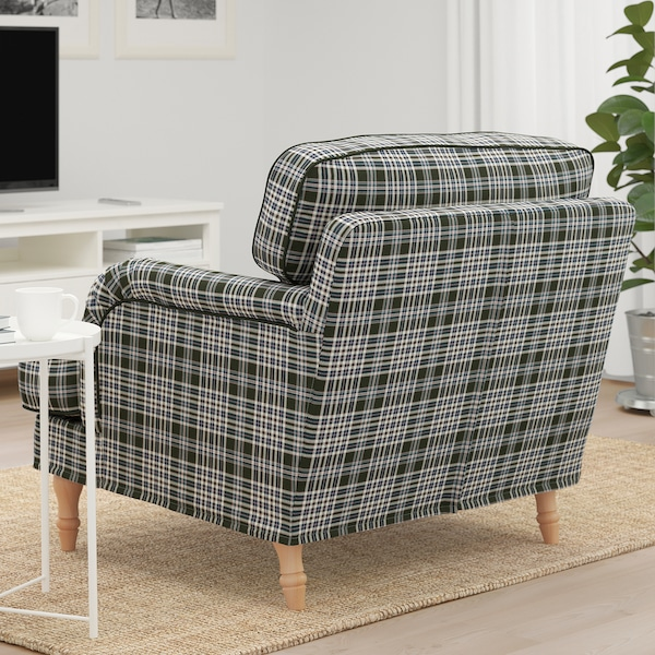 STOCKSUND Armchair, Segersta multicolour/light brown/wood