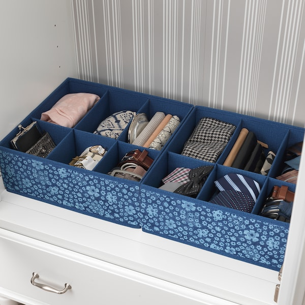 STORSTABBE Box with compartments, blue/white, 37x40x15 cm