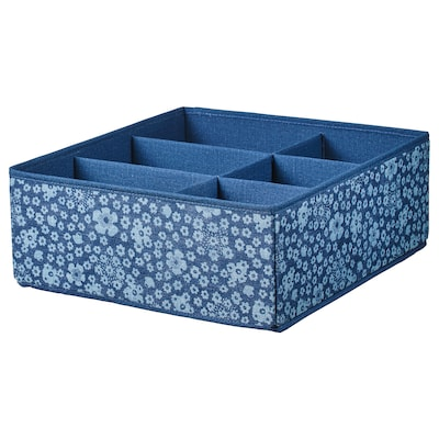 STORSTABBE box with compartments blue/white 37 cm 40 cm 15 cm