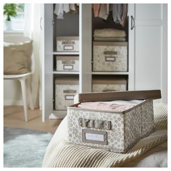 STORSTABBE Box with lid, beige, 35x50x15 cm