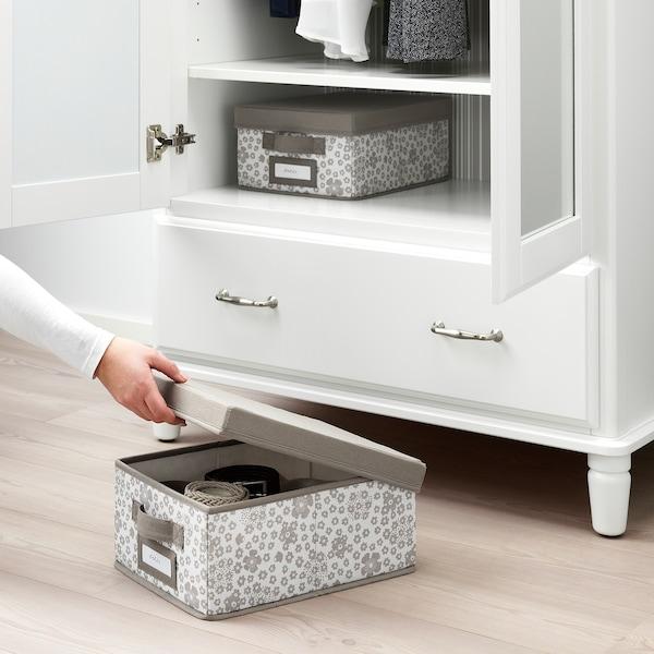 STORSTABBE Box with lid, beige, 25x35x15 cm
