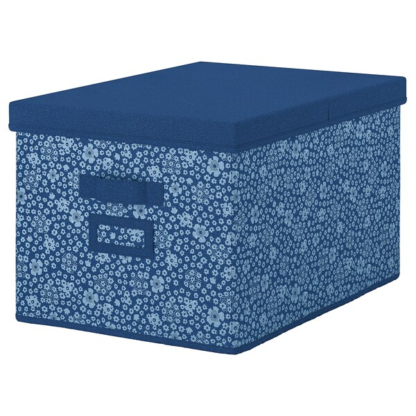 STORSTABBE Box with lid, blue/white, 35x50x30 cm
