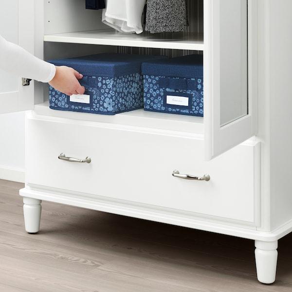STORSTABBE Box with lid, blue/white, 25x35x15 cm