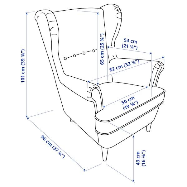STRANDMON Wing chair, Kvillsfors dark blue/blue