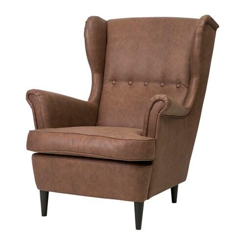 Poltrona Relax Pelle Ikea.Strandmon Wing Chair Jarstad Brown